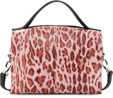 Charles Jourdan Ophelia Leopard-Print Leather Satchel Bag, Pink