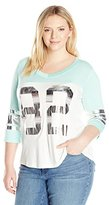 Miss Chievous Junior's Plus-Size 3/4 Sleeve Athletic Tee Gold Foil Screen