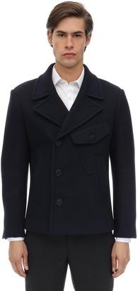 Neil Barrett Double Face Wool Blend Felt Pea Coat