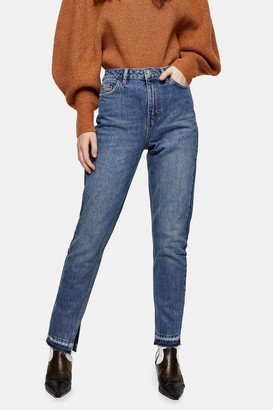 Topshop Mid Blue Split Hem Mom Tapered Jeans