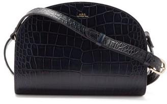 A.P.C. Half Moon Crocodile-effect Leather Cross-body Bag - Navy