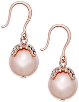 Charter Club Imitation Pearl and Crystal Drop Earrings