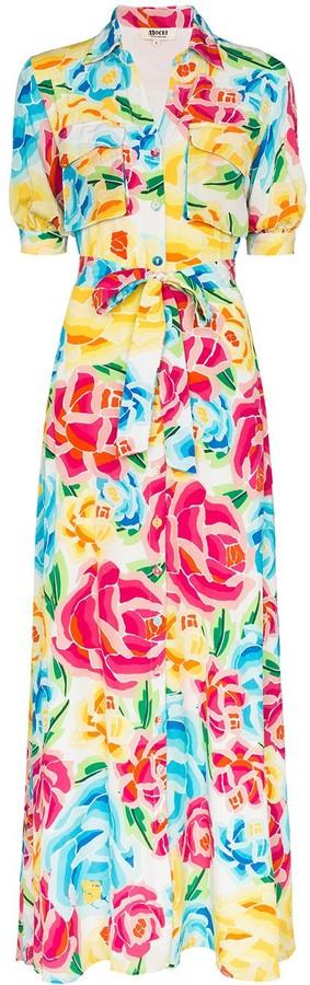 All Things Mochi Floral Print Shirt Dress