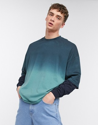 ASOS DESIGN oversized double layer long sleeve t-shirt with dip dye wash