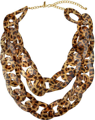 Kenneth Jay Lane Leopard-Link 2-Row Necklace