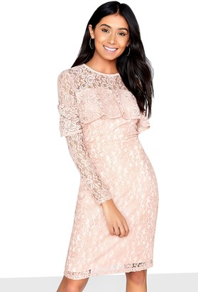 Girls On Film Frill Front Detail Lace Bodycon Dress