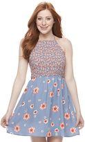 Trixxi Juniors' Floral Smocked Skater Dress