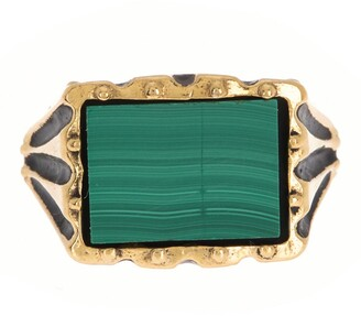 Alex and Ani 14K Yellow Gold Plated Sterling Silver Malachite Signet Ring - Size 8