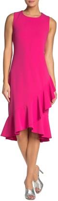 Nina Leonard Ruffle Hem Sleeveless Midi Dress