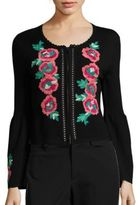 Nanette Lepore Capri Embroidered Merino Wool Cardigan