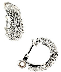 Anne Klein Silvertone and Crystal Clip Earrings