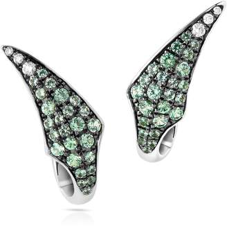 Swarovski x Stephen Webster White Gold, Diamond and Green Sapphire Bamboo Shoot Earrings