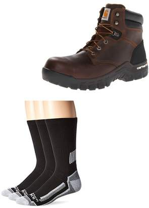 """Carhartt Men's 6"""" Rugged Flex Waterproof Breathable Composite Toe Leather Work Boot with 3 Pack Force Performance Work Crew Socks"""