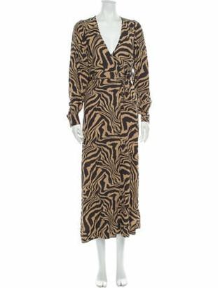 Ganni Printed Long Dress w/ Tags Brown