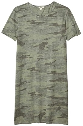 Dylan by True Grit Camo Chic Crew Neck T-Shirt Dress (Coastal Sage) Women's Clothing