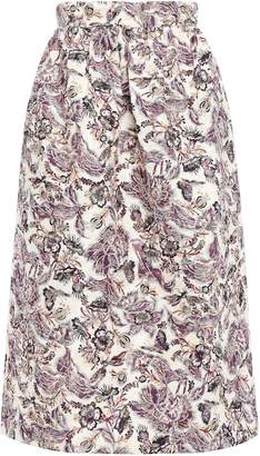 Anna Sui Gathered Floral-jacquard Midi Skirt