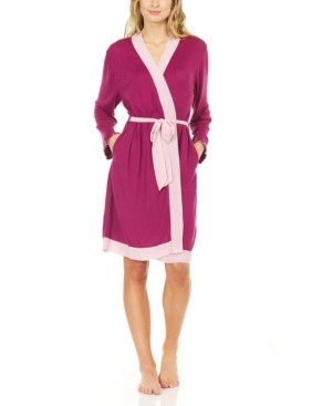 Laundry by Shelli Segal Women's Hacci Cozy Robe with Contrast Chiffon Detail