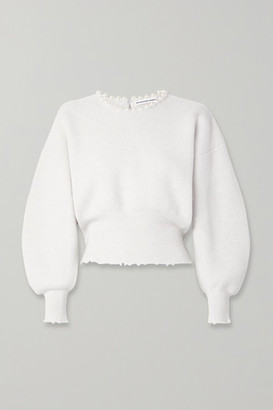 Alexander Wang Faux Pearl-embellished Cutout Distressed Wool-blend Sweater - Ivory