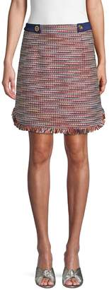 Laundry by Shelli Segal Frayed-Trimmed Skirt