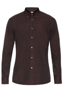 Brioni Button-down collar micro-checked cotton shirt