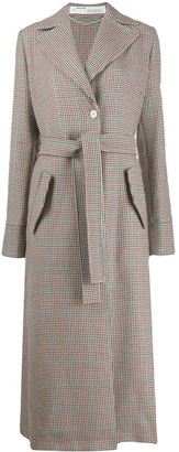Off-White Checked Oversized Belted Coat