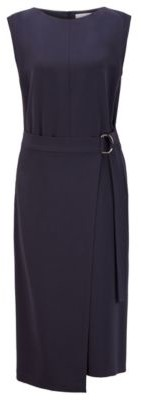 HUGO BOSS Belted dress in Japanese crepe with pleat front