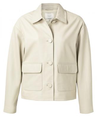 Ya-Ya Bone White Leather Jacket - 36