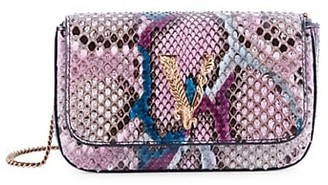 Versace Mini Virtus Python-Embossed Leather Crossbody Bag