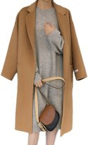 Moonpin Women's Simple Autumn Winter Woolen Slit Trenchcoat With Belt