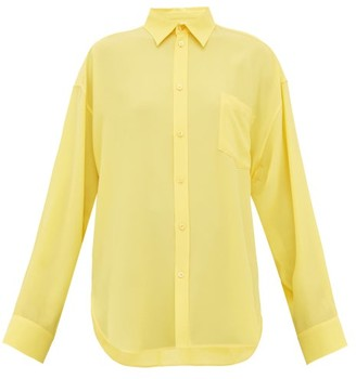 Balenciaga Silk-crepe Blouse - Womens - Yellow