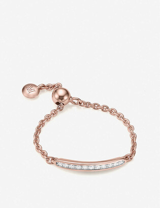 Monica Vinader Skinny 18ct rose-gold plated vermeil silver and diamond ring
