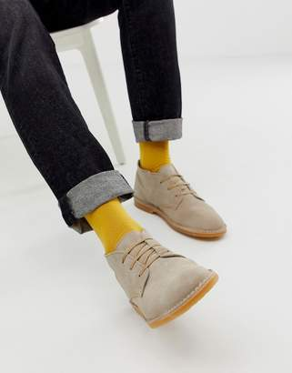 Selected suede desert boots in beige