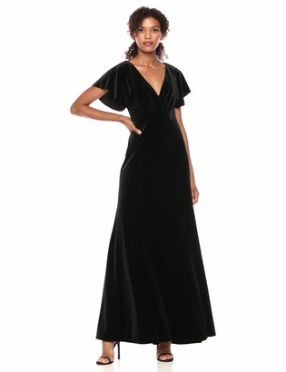 Jenny Yoo Women's Ellis Flutter Sleeve Open Back Long Velvet Gown