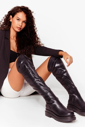 Nasty Gal Womens Get Over Here Over-the-Knee Faux Leather Boots - Black - 3