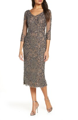 Pisarro Nights Sequin & Beaded Cocktail Sheath Dress