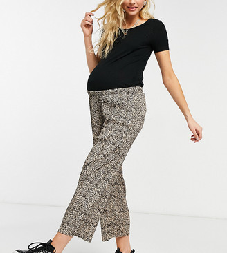 ASOS DESIGN Maternity plisse culotte trouser in animal print