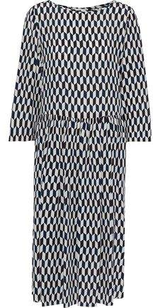Max Mara Burano Gathered Printed Silk Crepe De Chine Dress