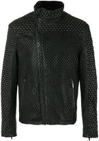 Emporio Armani perforated stud jacket - men - Cotton/Lamb Skin/Spandex/Elastane - 50