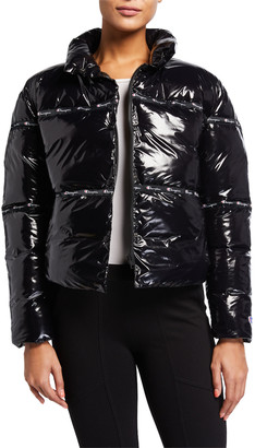 Champion Europe Reverse Weave Shiny Zip-Front Puffer Jacket