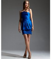 larkspur blue sateen peplum strapless dress