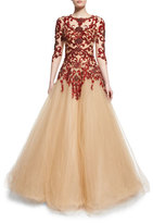 Marchesa Floral-Embellished Illusion Ball Gown, Scarlet