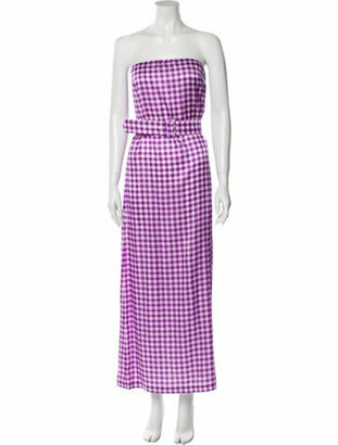 BERNADETTE Plaid Print Long Dress Purple