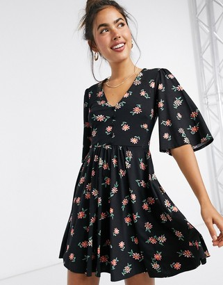 ASOS DESIGN mini swing dress in black floral print
