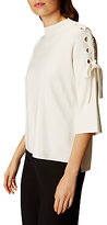 Karen Millen Lace Up Shoulder Top, Ivory