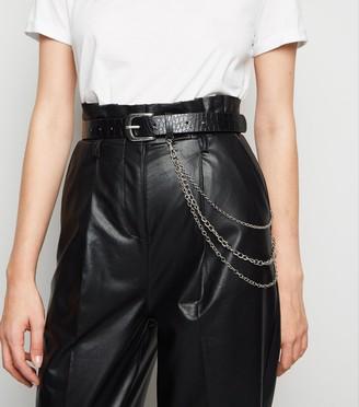 New Look Faux Croc Drape Chain Hip Belt