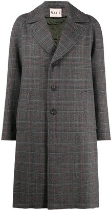 Plan C Single Breasted Check Mid-Length Coat