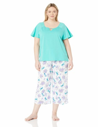 Karen Neuburger Women's Short Sleeve Top and Capri PJ Set with Wicking Technology