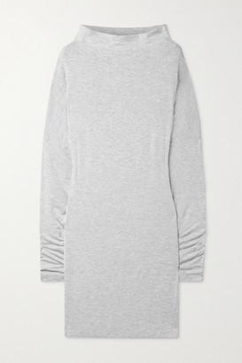Norma Kamali Convertible Melange Stretch-modal Mini Dress - Light gray