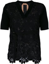 No.21 lace knit short sleeve cardigan