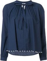 Twin-Set pearled seam drawstring neck top - women - Cotton/Polyamide/Spandex/Elastane - XXS